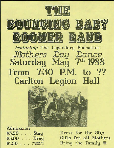 Bouncing Baby Boomer Band at the Carlton Legion Hall.